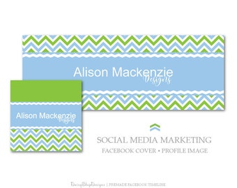 Facebook Cover,Profile Image,Social Media Marketing-Chevron,Solid-Blue,Green,White-Facebook Storefront