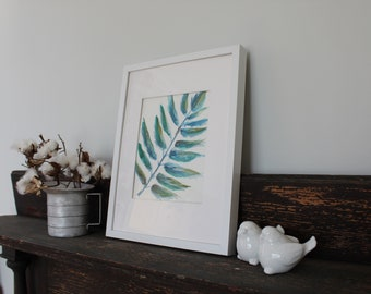 Fern leaf Watercolor Blue