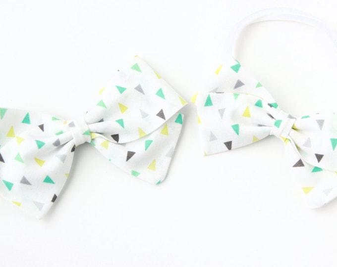 Fabric Bows For Girls - Triangle Hair Bow - White Gray Aqua and Green Bow - Nylon headband or Hair Clip