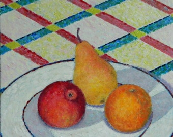 """Art & Collectibles Small Original Still Life Oil Painting Pear Orange Apple Painting Shadow Quebec Canada By Jacques Audet """" Fruits Square """""""