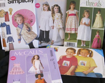 Sizes 2- 8, girl's pattern lot, casual and special occasion dresses, tops, tunics, pant, scarves, jumpers, jackets, + Teletubbies transfer