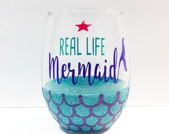 Mermaid Wine Glass - Glitter Dipped Stemless Wine Glass - Mermaid Party Decor - Gift For Her