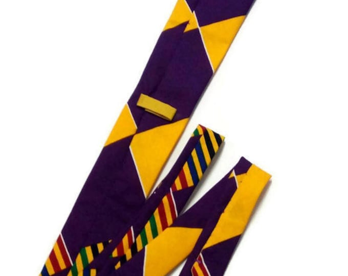 Mens Bright Yellow Purple Mix Kente Necktie, Pocket Square And Storage Pouch Set, Ideal Birthday, Fathers Day Gift