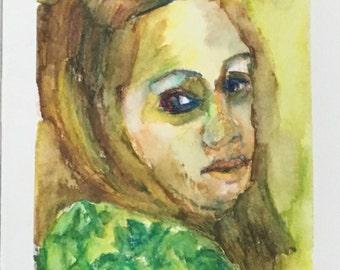 Original Watercolor Portrait Painting/ Illustration- Recovering