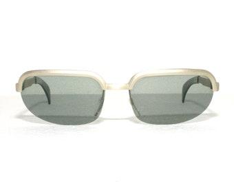 Vintage Polaroid Biker Sunglasses Silver 60's 1960's New Old Stock Sun Glasses Frame Eyewear NOS FREE SHIPPING Rimless