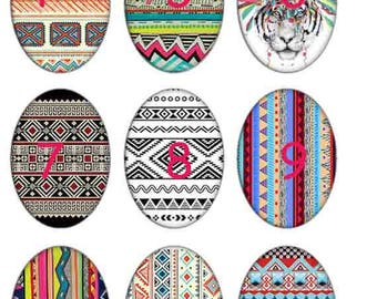 Resin 4 tribal cabochons 25x18mm white cardstock