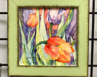 tulips watercolor on 6 x 6 painting  original small format