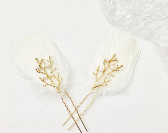 White Gold feather bridal hair pin, gold tree branch feather hair pin, bridal hairpin, bridal white hair pin, bridla hair feather accessory