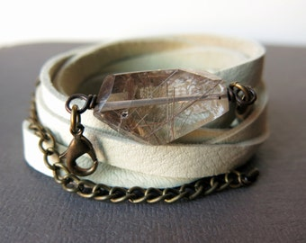 Leather Wrap Bracelet - Bohemian Leather Bracelet - Leather Cuff Bracelet - Boho Wrap Bracelet - Rutilated Quartz Bracelet - Leather Jewelry