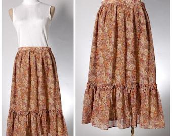 Vintage brown floral maxi skirt