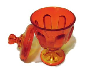 Vintage VIKING Art Glass EPIC Amberina Candy Jar- PERSIMMON