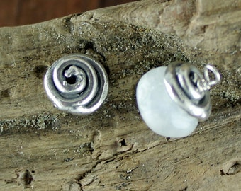TWO Small Spiral Sterling Bead Caps 002/BC140