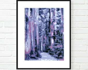 Fine Art Print, Landscape Painting, Nature Art, Art Print, Abstract Trees, Purple Landscape, Abstract Print, Nature Print, Original Painting
