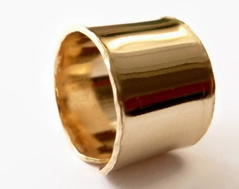 Gold Wide Adjustable Band Ring, Men and Women Band Ring, Modern Statement Ring