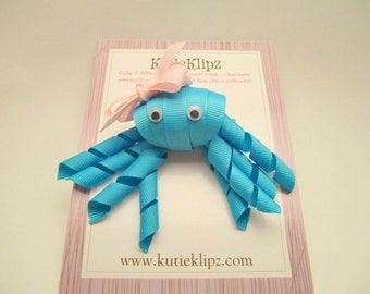 SALE - Misty the Bright Turquoise Blue and Pink Octopus - Ribbon Sculpture Hair Clip - Hair Accessory - Hairbow