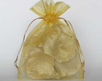 Organza Gift Bags, Gold Sheer Favor Bags with Drawstring for Packaging, pack of 50