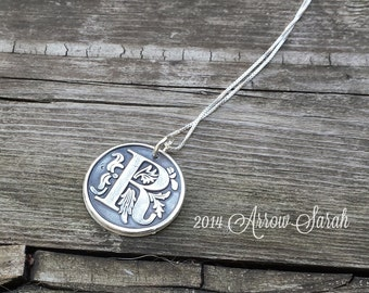 Personalized Wax Seal Initial Pendant and Necklace made from Recylced, Reclaimed fine silver .999 Great Bridesmaid gift