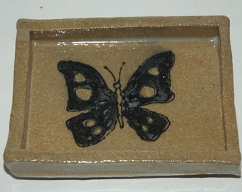 Handmade Stoneware Butterfly Soap Dish