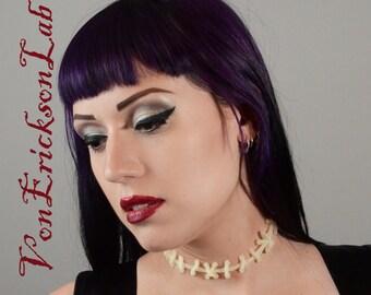 Halloween Jewelry Zombie Stitches Necklace - Glow in the Dark Jewelry Thin Stitches