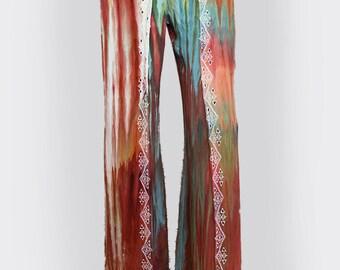 Tie Dye Wrap Pants - Hippie Wrap Pants -  Comfy Pants - Size Large