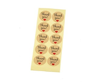 Set of 20 thank you stickers.