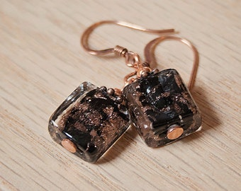 Handmade Black Earrings Black Lampworked Earrings Copper Earrings Black Copper Earrings Black Dangle Earrings