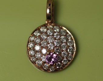 Yellow gold and pink sappire and diamond pendant