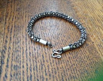 Decorative sterling snake bracelet