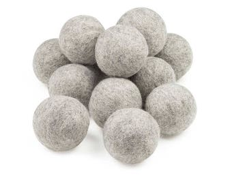Merino Wool Dryer Balls - 100% Merino Wool, Natural Gray, Hypo-Allergenic, Dye-Free, Chemical-Free, Multiple Pack Sizes Available