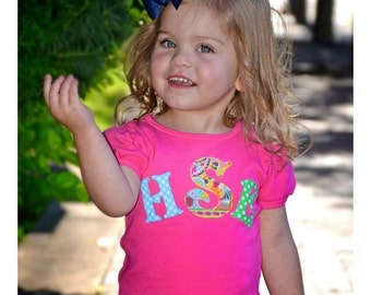 Monogrammed Toddler Shirt, Personalized Girl's Shirt, Monogrammed Shirt, Personalized Toddler Shirt, Bright Colors Toddler Shirt,Toddler Pic