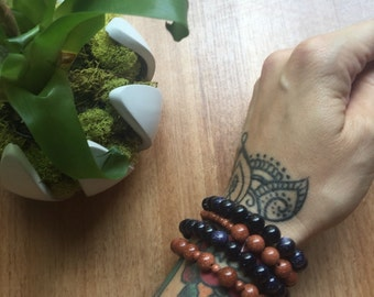 Handmade Blue GOLDSTONE Stretch Bracelet