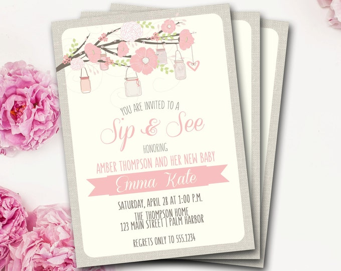 Mason Jar Sip and See Invitation, Rustic Sip And See, Mason Jar Baby Shower Invitation, Mason Jar Invite, Rustic Baby Shower, DIY Printable