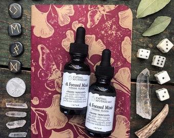 Focused Mind Herbal Study Aid / Mental Focus Memory ADHD Brain Tonic / Adaptogen and Nootropic / Gotu Kola Ashwaghandha Ginkgo / Organic