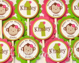 Green and Pink Girl Monkey Birthday Party or  Baby Shower Personalize Cupcake Toppers Picks Set of 12