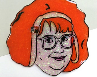 """Linda La Hughes """"Gimme Gimme Gimme"""" glittery illustrated brooch/pin"""