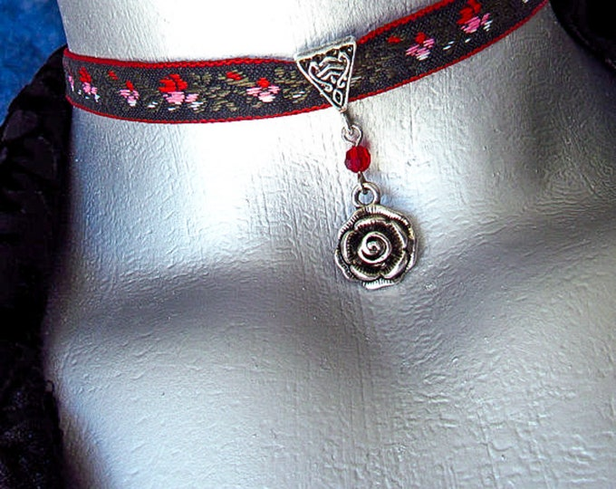 Silver Rose Pendant Ribbon Choker Necklace with Czech Crystal - Customizable