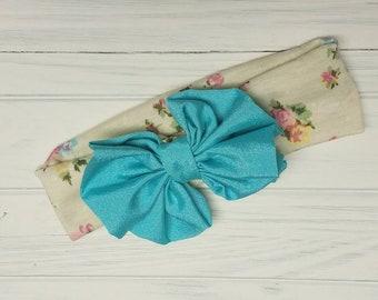 Ivory Pastel Flower Bow Wide Headband