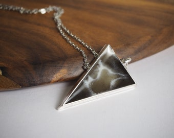 Silver Necklace with Unique Geometric Triangle Resin Filled Pendant