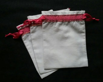"50 White cotton drawstring Pouch 3"" x 4"" with pink Trim for stamping jewelry bath salts herbs handmade soap"