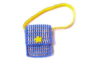 Hand bag, bright blue, yellow and orange