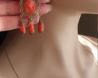 Victorian Red Coral Cameo Dangle Girandole Earrings
