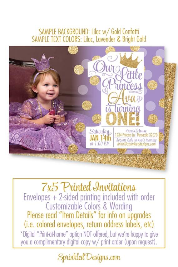 Princess first birthday girl invitations purple gold glitter like this item filmwisefo Images