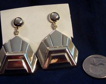 Silver and Gold Tone Dangle Pierced Earrings