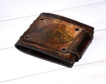 Steampunk - Leather Wallet - Bifold Wallet - Custom Mens Wallet