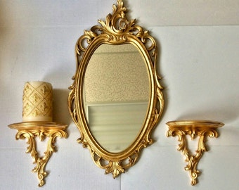 Oval Mirror Syroco Mirror Vintage Mirror Oval Wall Mirror Gold Wall Mirror French Style Entryway Oval Mirror Wall Mirror for Wall VGLOM0001