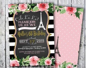 Paris Birthday Invitation, Eiffel Tower Invite, Paris Invitation, Printable Invitation, Chalkboard, French Party Sweet 16 Sixteen invite