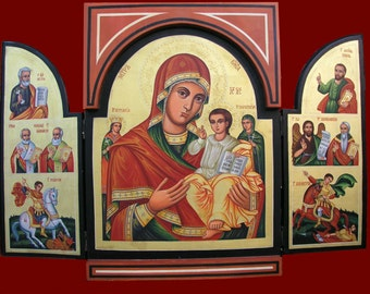 Bulgarian home iconostasis, Home Altar,Virgin and child with Saints,Triptych ,Byzantine icon, religious gift, orthodox icon, Christmas gift