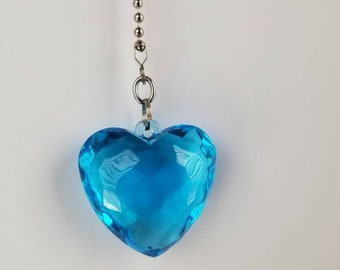 Blue Jeweled/Gem Heart Ceiling Fan / Light Pull Chain Silver Beaded Pull Chain