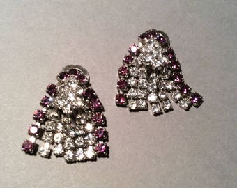 Purple Rhinestone Clip Earrings