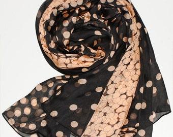 Black Silk Chiffon Scarf with Golden Brown Polka Dot Print - Black and Brown Silk Scarf - AS50